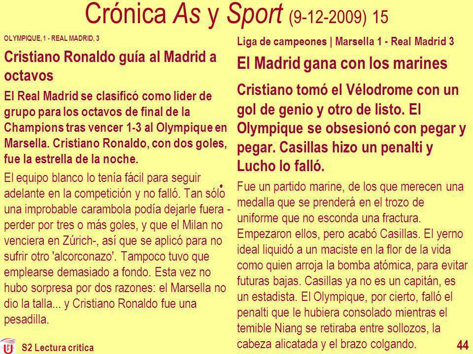 Crónica As y Sport (9-12-2009) 15 OLYMPIQUE, 1 - REAL MADRID, 3 Cristiano Ronaldo guía al Madrid a octavos El Real Madrid se clasificó como líder de g