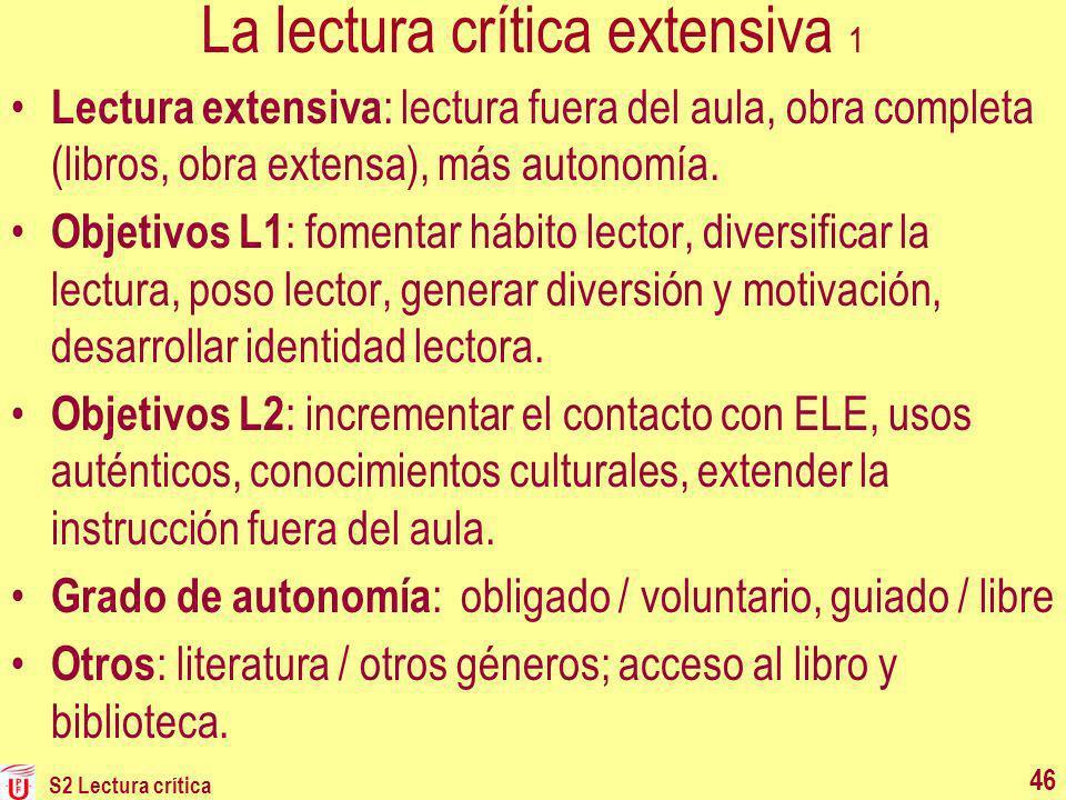 La lectura crítica extensiva 1 Lectura extensiva : lectura fuera del aula, obra completa (libros, obra extensa), más autonomía. Objetivos L1 : fomenta