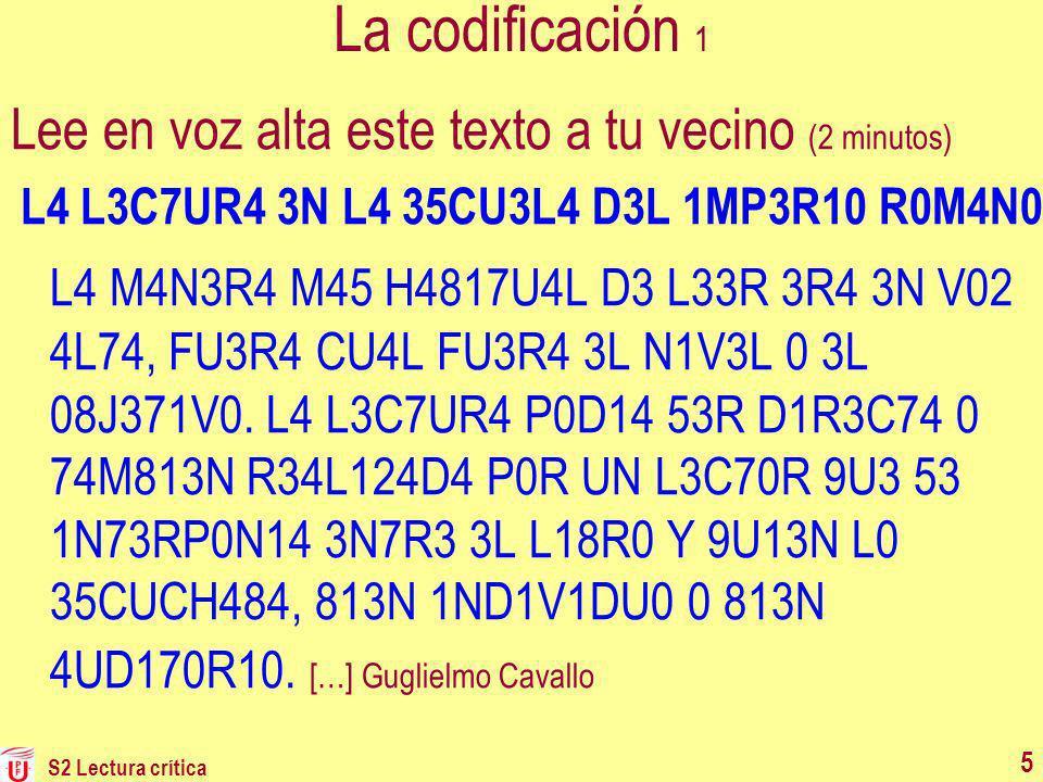 5 La codificación 1 Lee en voz alta este texto a tu vecino (2 minutos) L4 L3C7UR4 3N L4 35CU3L4 D3L 1MP3R10 R0M4N0 L4 M4N3R4 M45 H4817U4L D3 L33R 3R4