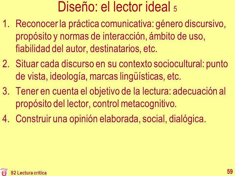 Diseño: el lector ideal 5 1.Reconocer la práctica comunicativa: género discursivo, propósito y normas de interacción, ámbito de uso, fiabilidad del au