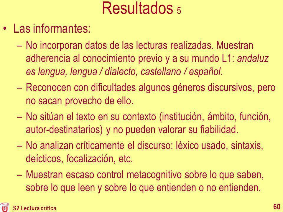Resultados 5 Las informantes: –No incorporan datos de las lecturas realizadas. Muestran adherencia al conocimiento previo y a su mundo L1: andaluz es