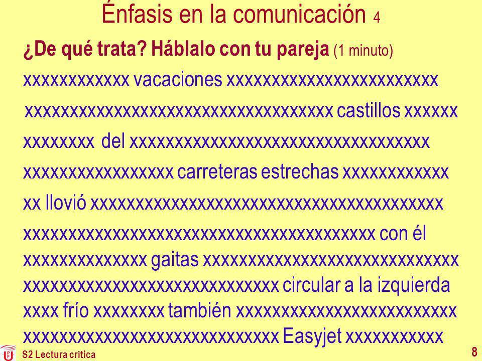 Énfasis en la comunicación 4 ¿De qué trata? Háblalo con tu pareja (1 minuto) xxxxxxxxxxxx vacaciones xxxxxxxxxxxxxxxxxxxxxxxx xxxxxxxxxxxxxxxxxxxxxxxx