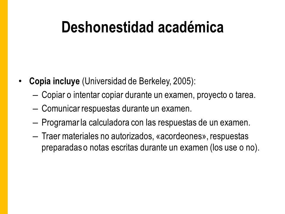 Deshonestidad académica Copia incluye (Universidad de Berkeley, 2005): – Copiar o intentar copiar durante un examen, proyecto o tarea.