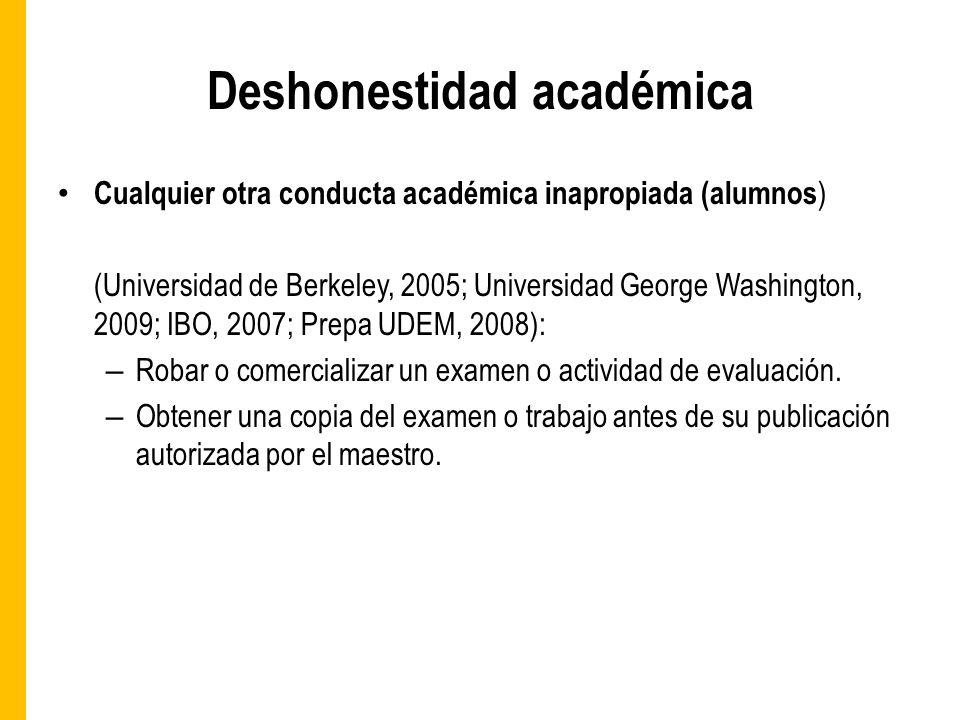 Deshonestidad académica Cualquier otra conducta académica inapropiada (alumnos ) (Universidad de Berkeley, 2005; Universidad George Washington, 2009; IBO, 2007; Prepa UDEM, 2008): – Robar o comercializar un examen o actividad de evaluación.