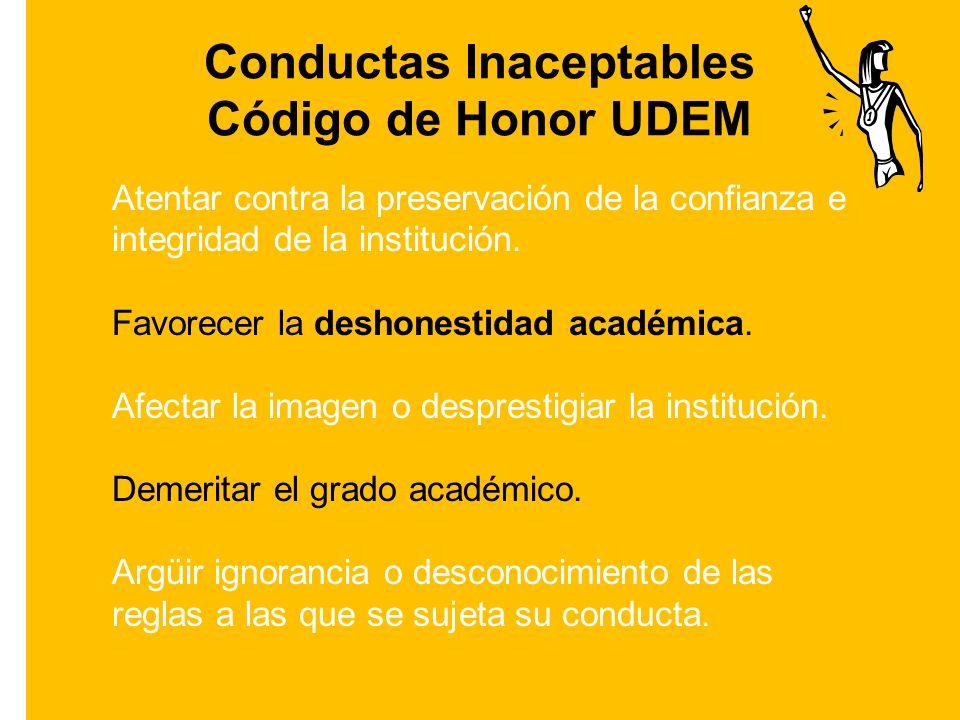 Conductas Inaceptables Código de Honor UDEM Atentar contra la preservación de la confianza e integridad de la institución.