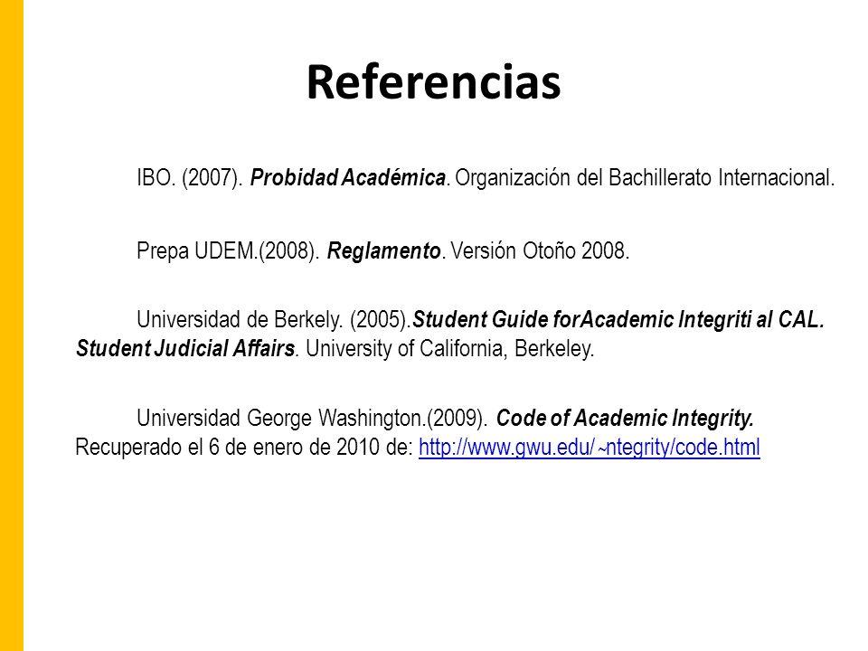 Referencias IBO.(2007). Probidad Académica. Organización del Bachillerato Internacional.