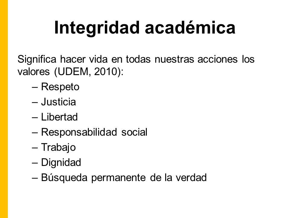 Integridad académica Significa hacer vida en todas nuestras acciones los valores (UDEM, 2010): –Respeto –Justicia –Libertad –Responsabilidad social –Trabajo –Dignidad –Búsqueda permanente de la verdad