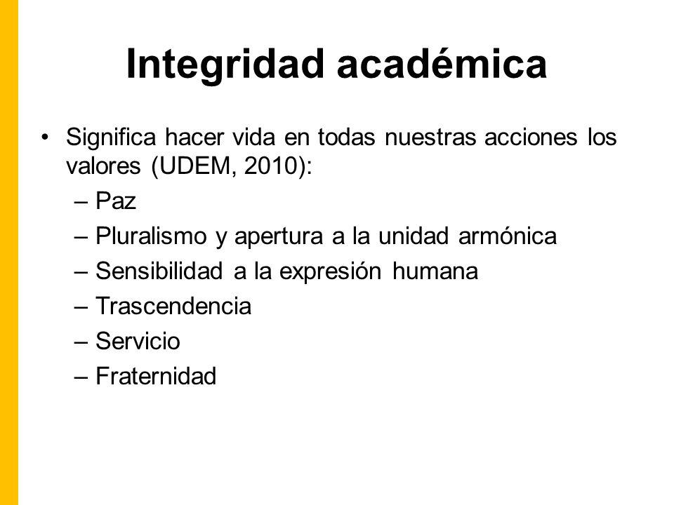 Integridad académica Significa hacer vida en todas nuestras acciones los valores (UDEM, 2010): –Paz –Pluralismo y apertura a la unidad armónica –Sensibilidad a la expresión humana –Trascendencia –Servicio –Fraternidad