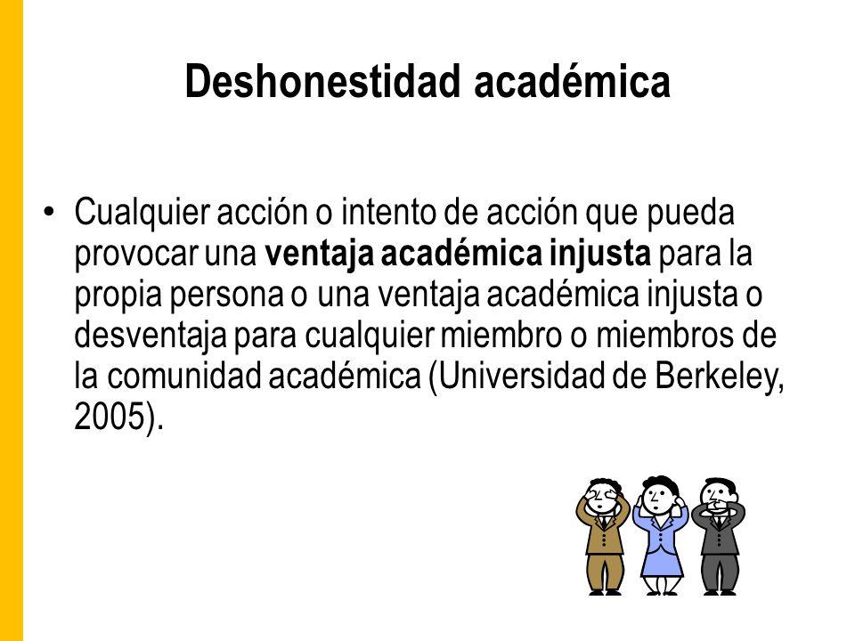 Deshonestidad académica Cualquier acción o intento de acción que pueda provocar una ventaja académica injusta para la propia persona o una ventaja académica injusta o desventaja para cualquier miembro o miembros de la comunidad académica (Universidad de Berkeley, 2005).