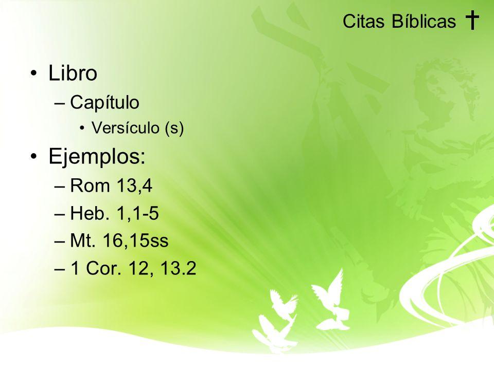 Citas Bíblicas Libro –Capítulo Versículo (s) Ejemplos: –Rom 13,4 –Heb. 1,1-5 –Mt. 16,15ss –1 Cor. 12, 13.2