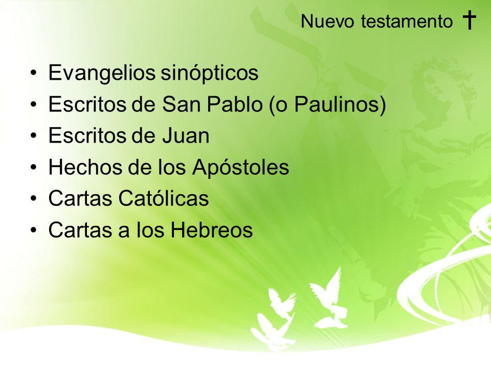 Nuevo testamento Evangelios sinópticos Escritos de San Pablo (o Paulinos) Escritos de Juan Hechos de los Apóstoles Cartas Católicas Cartas a los Hebre
