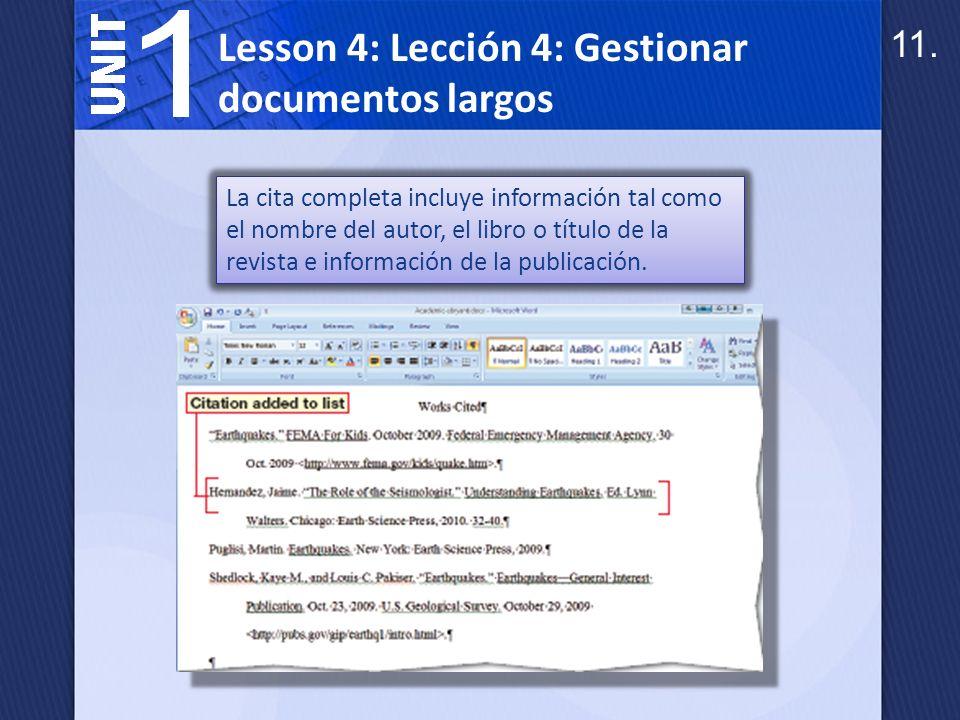 La herramienta de citas & bibliografía compila toda la información de la fuente.