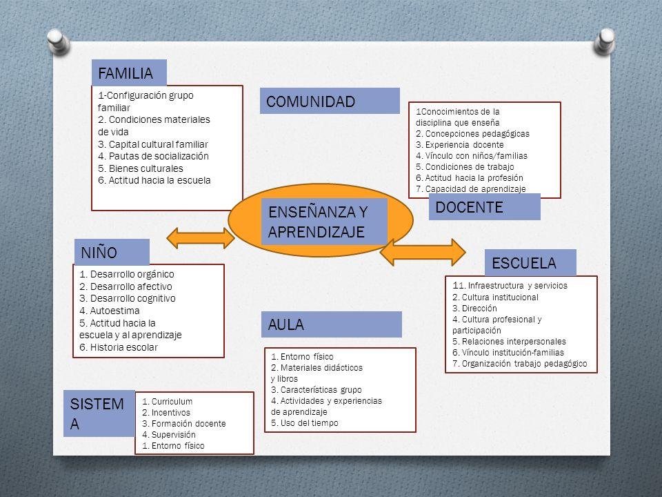 1-Configuración grupo familiar 2. Condiciones materiales de vida 3. Capital cultural familiar 4. Pautas de socialización 5. Bienes culturales 6. Actit