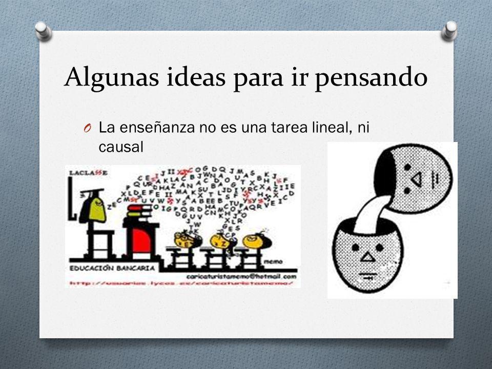 Algunas ideas para ir pensando O La enseñanza no es una tarea lineal, ni causal