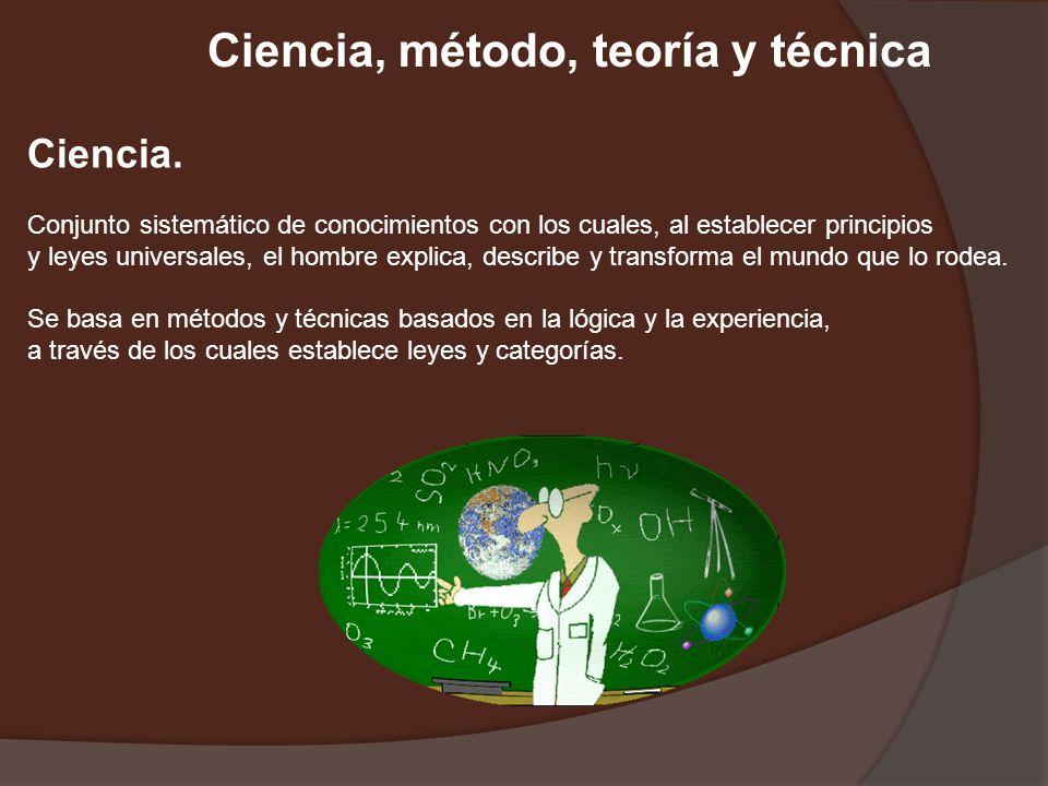 Ciencia, método, teoría y técnica Ciencia. Conjunto sistemático de conocimientos con los cuales, al establecer principios y leyes universales, el homb