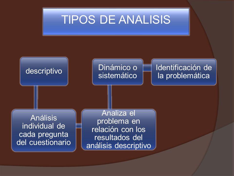 descriptivo Análisis individual de cada pregunta del cuestionario Analiza el problema en relación con los resultados del análisis descriptivo Dinámico o sistemático Identificación de la problemática TIPOS DE ANALISIS
