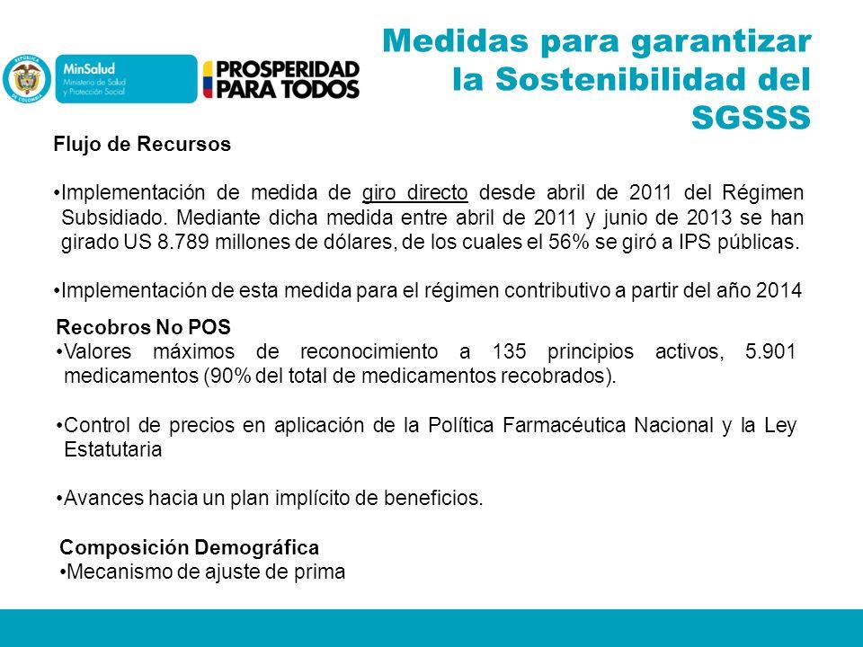 Medidas para garantizar la Sostenibilidad del SGSSS Flujo de Recursos Implementación de medida de giro directo desde abril de 2011 del Régimen Subsidi