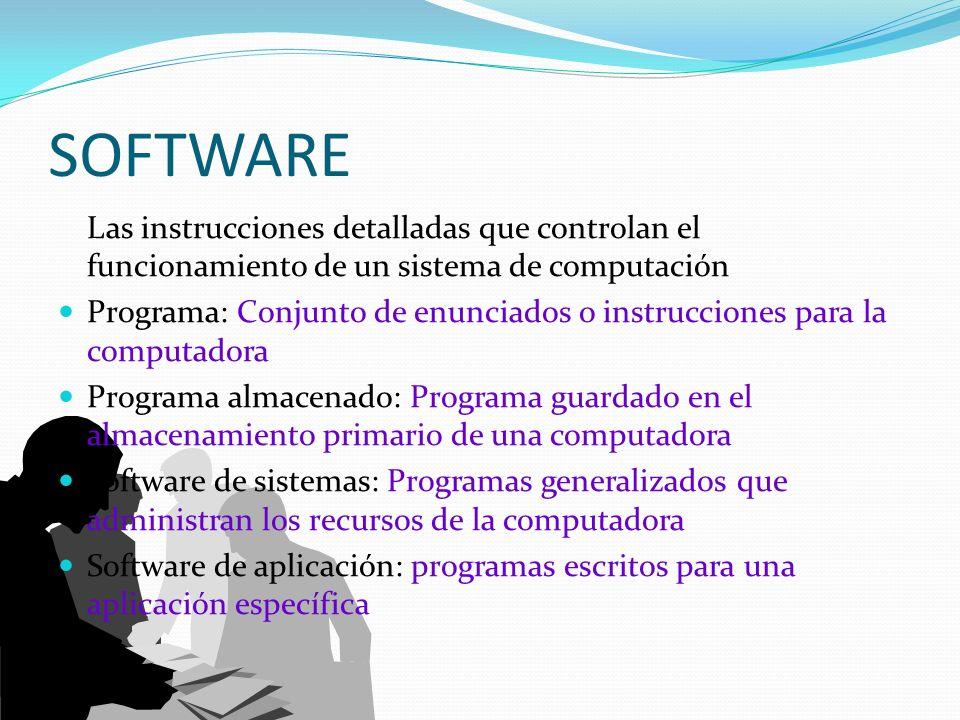 SOFTWARE Las instrucciones detalladas que controlan el funcionamiento de un sistema de computación Programa: Conjunto de enunciados o instrucciones pa