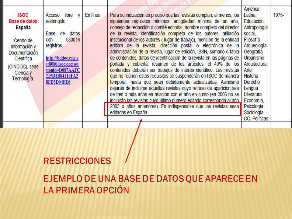 RESTRICCIONES EJEMPLO DE UNA BASE DE DATOS QUE APARECE EN LA PRIMERA OPCIÓN