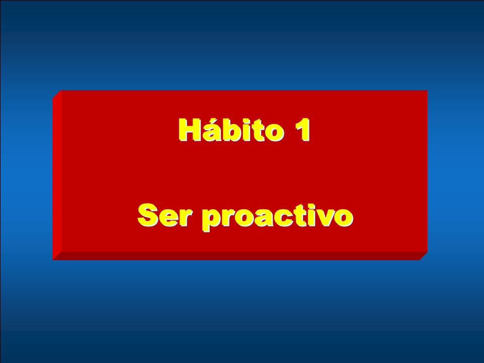 Hábito 1 Ser proactivo Hábito 1 Ser proactivo