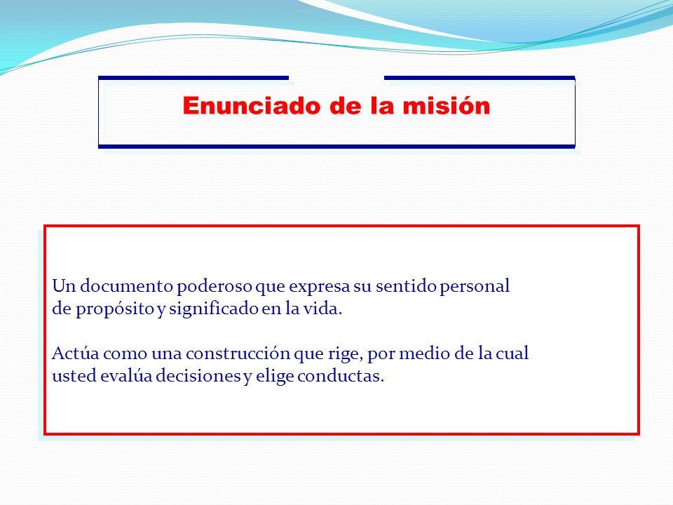 Enunciado de la misión Un documento poderoso que expresa su sentido personal de propósito y significado en la vida. Actúa como una construcción que ri