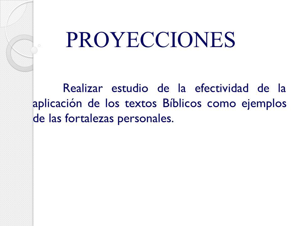 PROYECCIONES Realizar estudio de la efectividad de la aplicación de los textos Bíblicos como ejemplos de las fortalezas personales.