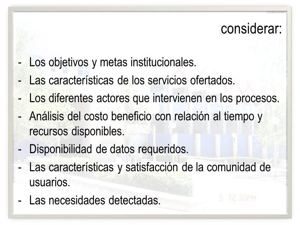 considerar: -Los objetivos y metas institucionales. -Las características de los servicios ofertados. -Los diferentes actores que intervienen en los pr