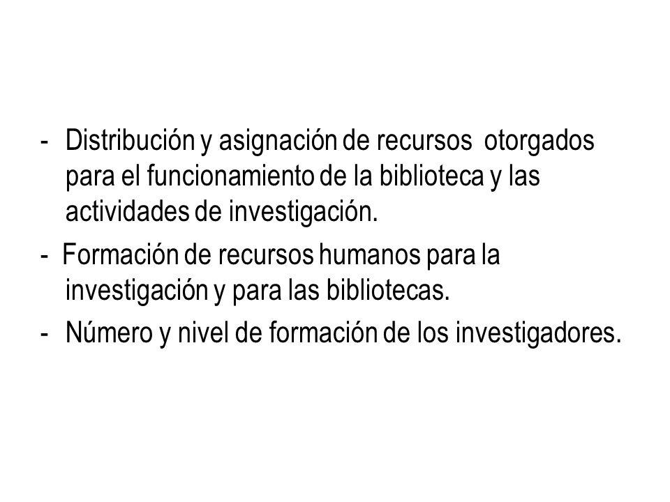-Distribución y asignación de recursos otorgados para el funcionamiento de la biblioteca y las actividades de investigación. - Formación de recursos h
