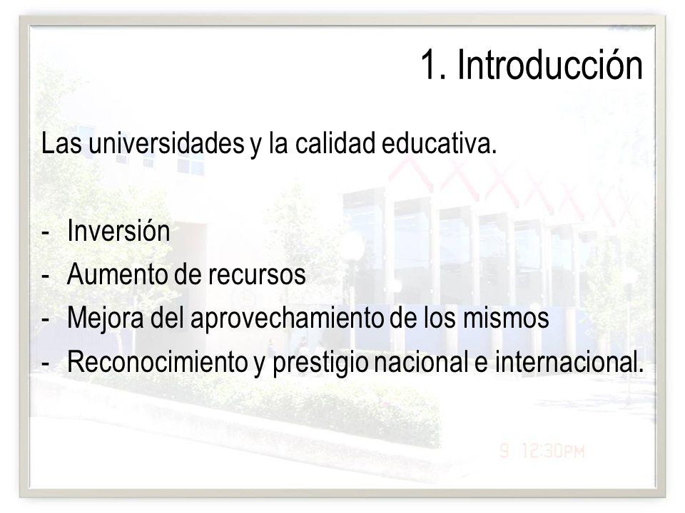 1. Introducción Las universidades y la calidad educativa. -Inversión -Aumento de recursos -Mejora del aprovechamiento de los mismos -Reconocimiento y