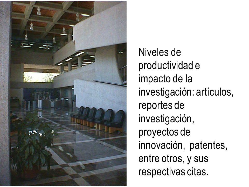 Niveles de productividad e impacto de la investigación: artículos, reportes de investigación, proyectos de innovación, patentes, entre otros, y sus re