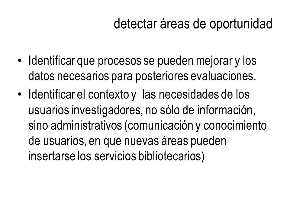 detectar áreas de oportunidad Identificar que procesos se pueden mejorar y los datos necesarios para posteriores evaluaciones. Identificar el contexto