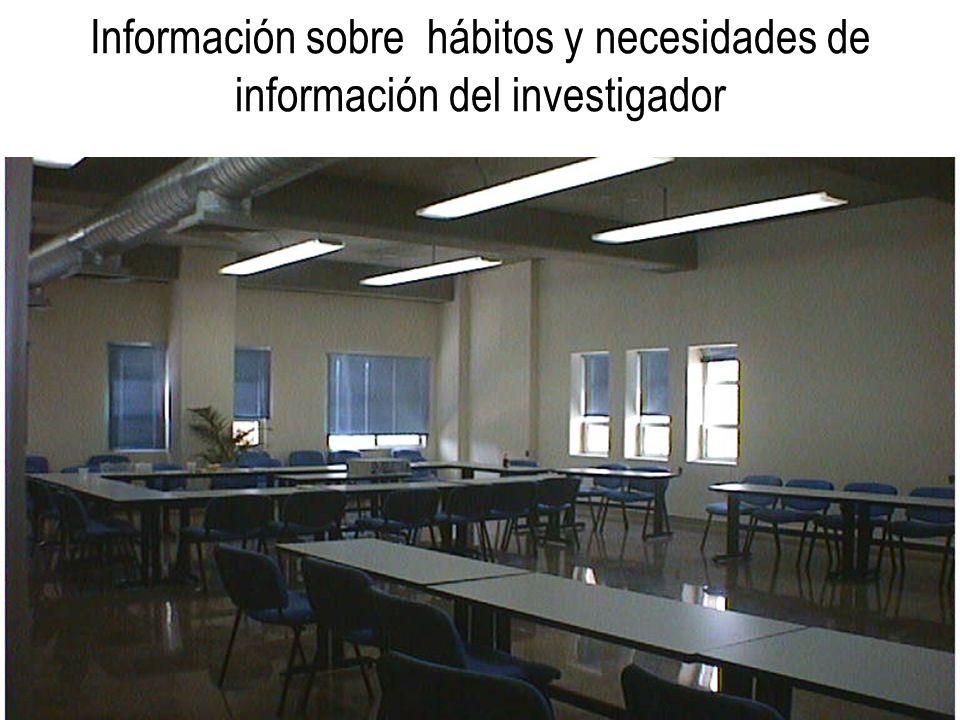 Información sobre hábitos y necesidades de información del investigador