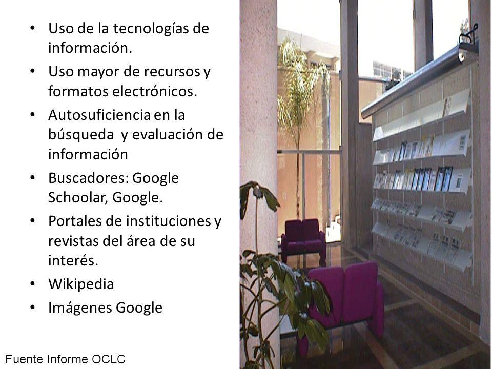 Uso de la tecnologías de información. Uso mayor de recursos y formatos electrónicos. Autosuficiencia en la búsqueda y evaluación de información Buscad