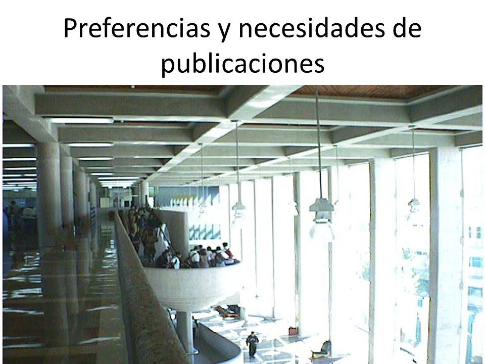 Preferencias y necesidades de publicaciones