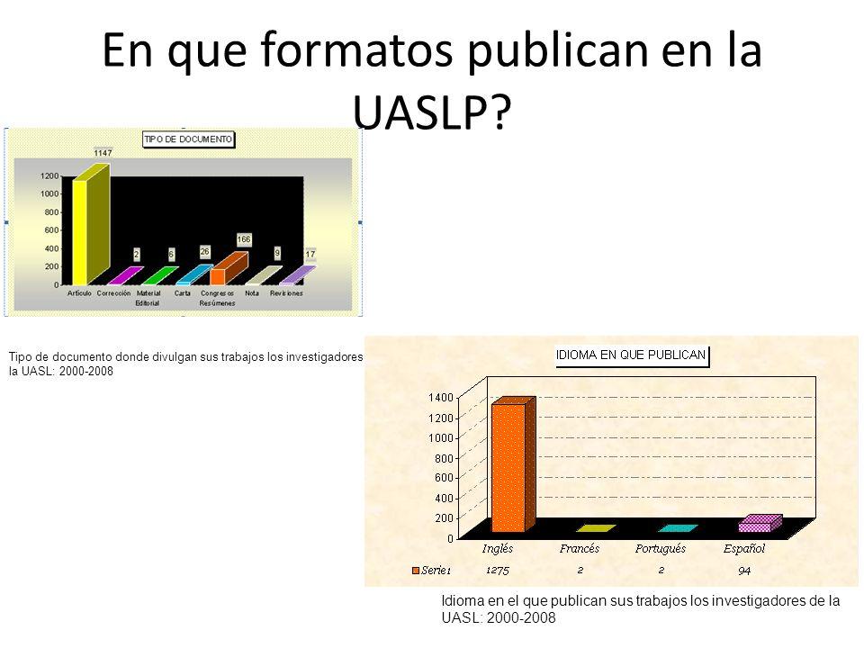 En que formatos publican en la UASLP? Tipo de documento donde divulgan sus trabajos los investigadores de la UASL: 2000-2008 Idioma en el que publican