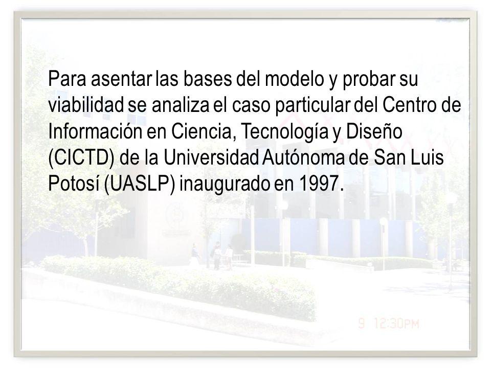 Para asentar las bases del modelo y probar su viabilidad se analiza el caso particular del Centro de Información en Ciencia, Tecnología y Diseño (CICT