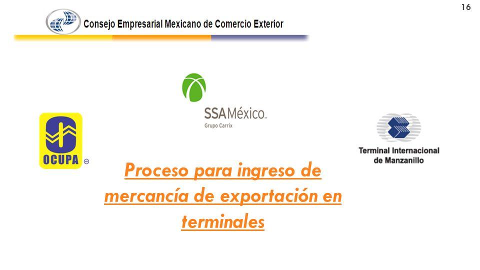 Proceso para ingreso de mercancía de exportación en terminales 16