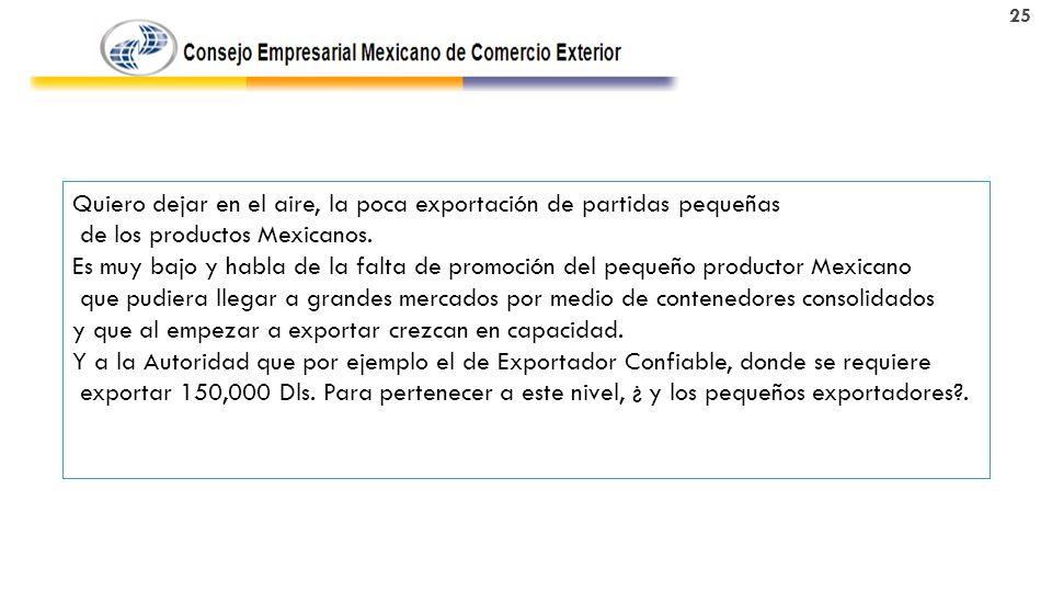 Quiero dejar en el aire, la poca exportación de partidas pequeñas de los productos Mexicanos.