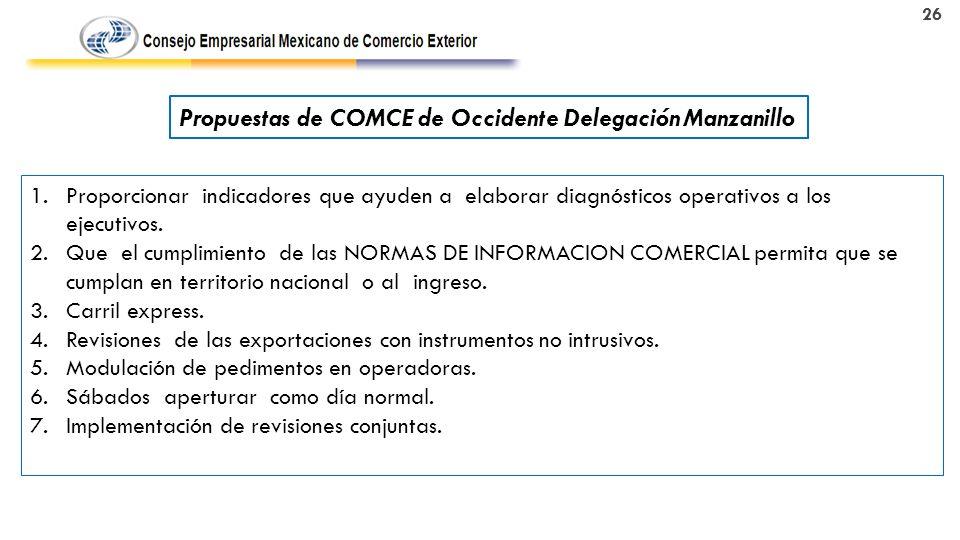 26 Propuestas de COMCE de Occidente Delegación Manzanillo 1.Proporcionar indicadores que ayuden a elaborar diagnósticos operativos a los ejecutivos.