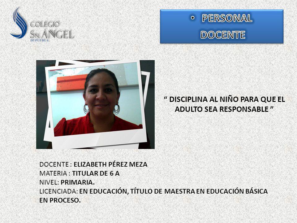 DISCIPLINA AL NIÑO PARA QUE EL ADULTO SEA RESPONSABLE DOCENTE : ELIZABETH PÉREZ MEZA MATERIA : TITULAR DE 6 A NIVEL: PRIMARIA. LICENCIADA: EN EDUCACIÓ