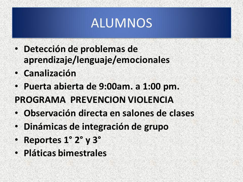 Detección de problemas de aprendizaje/lenguaje/emocionales Canalización Puerta abierta de 9:00am. a 1:00 pm. PROGRAMA PREVENCION VIOLENCIA Observación