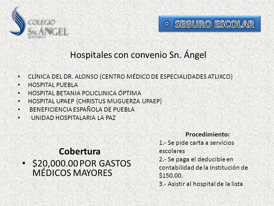 Cobertura $20,000.00 POR GASTOS MÉDICOS MAYORES Hospitales con convenio Sn. Ángel CLÍNICA DEL DR. ALONSO (CENTRO MÉDICO DE ESPECIALIDADES ATLIXCO) HOS