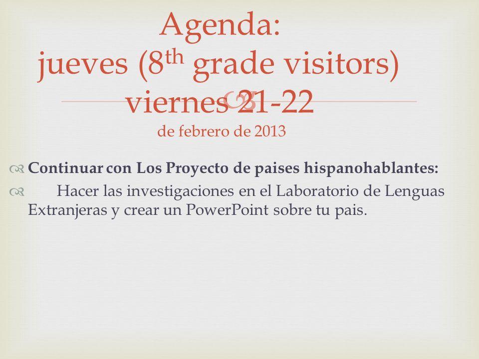Continuar con Los Proyecto de paises hispanohablantes: Hacer las investigaciones en el Laboratorio de Lenguas Extranjeras y crear un PowerPoint sobre tu pais.