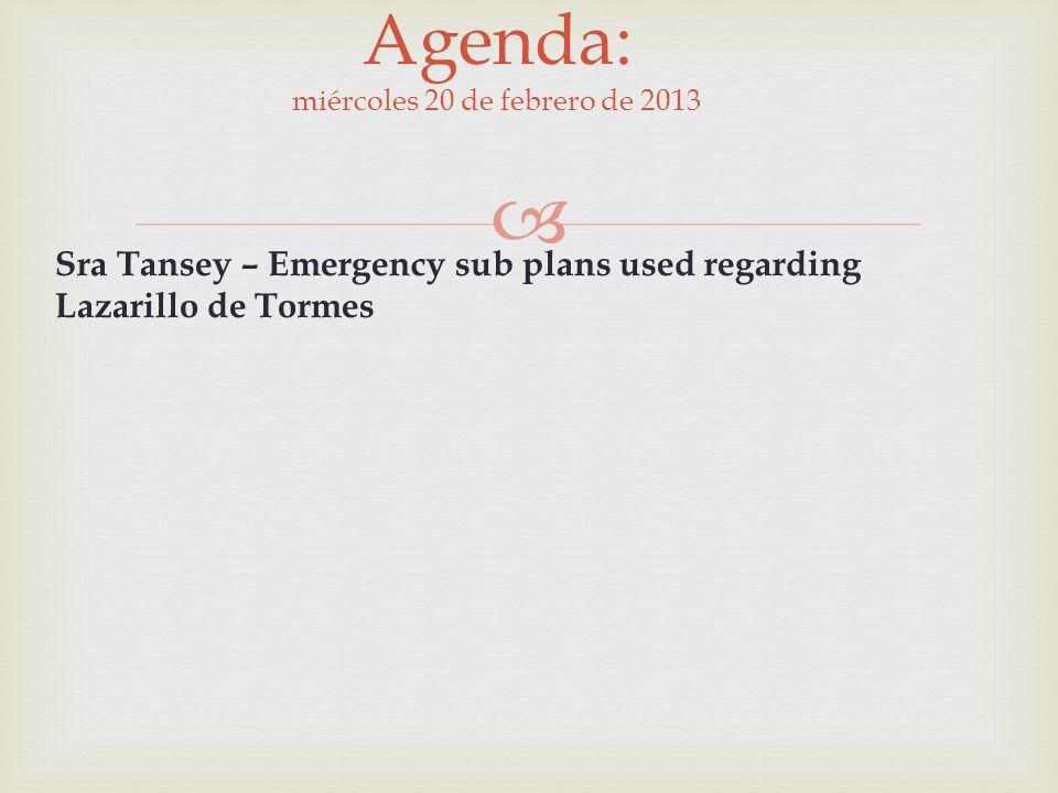 Agenda: miércoles 20 de febrero de 2013 Sra Tansey – Emergency sub plans used regarding Lazarillo de Tormes