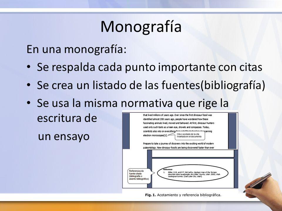 Monografía En una monografía: Se respalda cada punto importante con citas Se crea un listado de las fuentes(bibliografía) Se usa la misma normativa qu