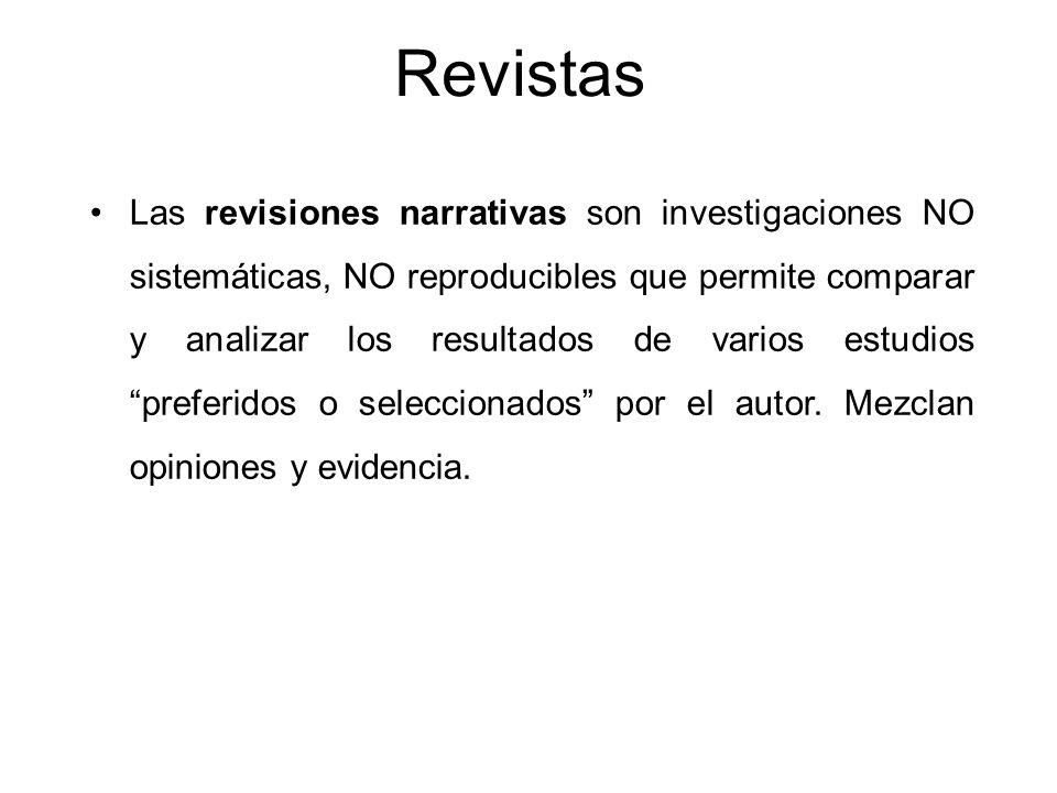 Revistas Las revisiones narrativas son investigaciones NO sistemáticas, NO reproducibles que permite comparar y analizar los resultados de varios estu