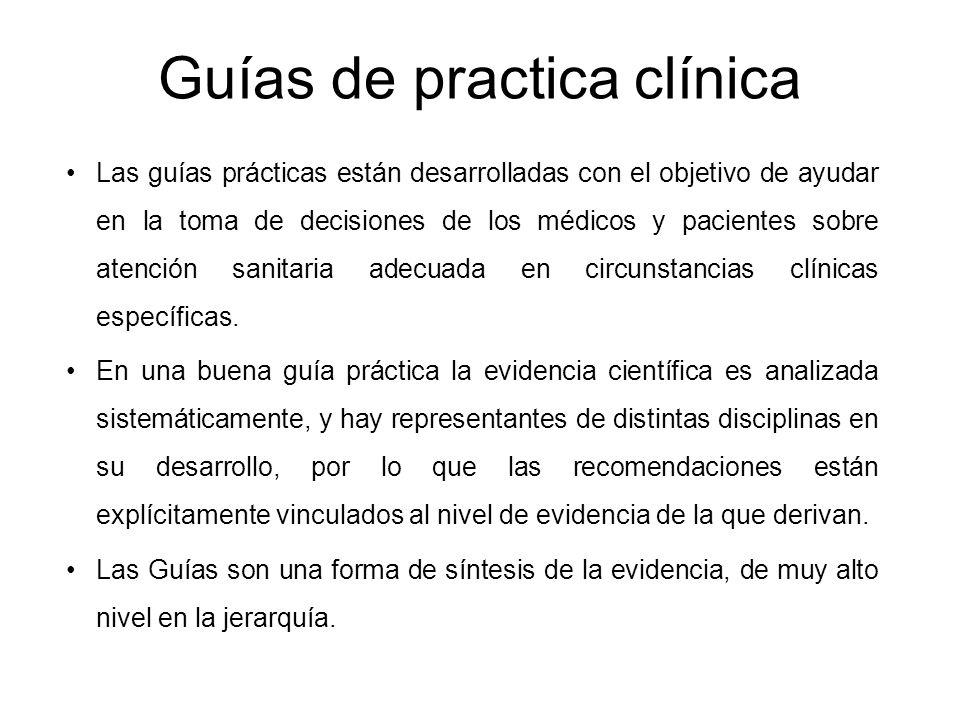 Guías de practica clínica Las guías prácticas están desarrolladas con el objetivo de ayudar en la toma de decisiones de los médicos y pacientes sobre
