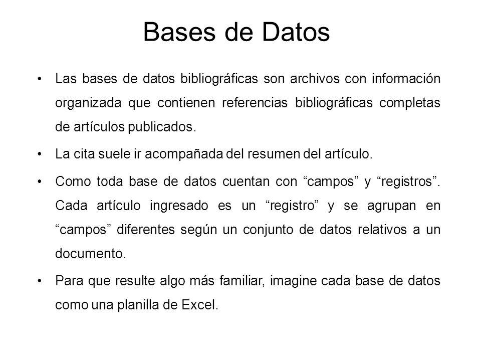 Bases de Datos Las bases de datos bibliográficas son archivos con información organizada que contienen referencias bibliográficas completas de artícul