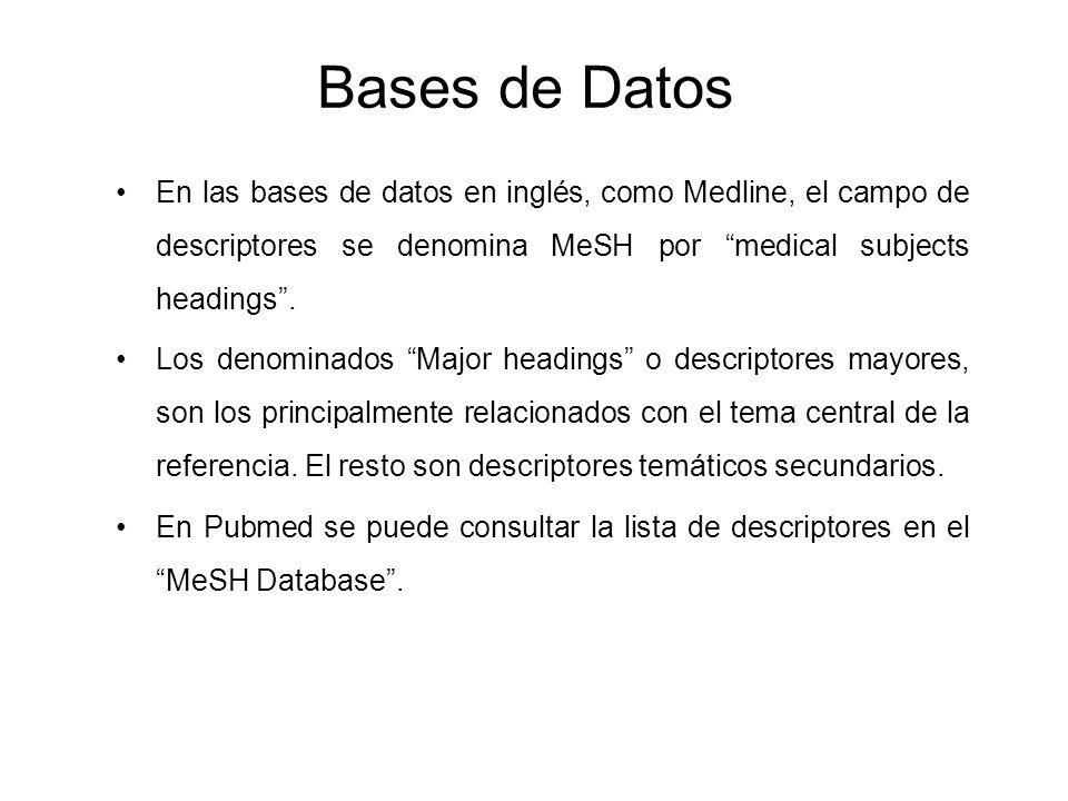 Bases de Datos En las bases de datos en inglés, como Medline, el campo de descriptores se denomina MeSH por medical subjects headings. Los denominados