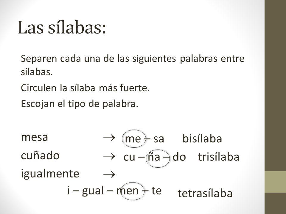 Las sílabas: Separen cada una de las siguientes palabras entre sílabas. Circulen la sílaba más fuerte. Escojan el tipo de palabra. mesa cuñado igualme